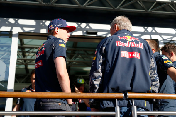 Circuit de Catalunya, Barcelona, Spain.  Friday 13 May 2016. Max Verstappen, Red Bull speaks to Dr. Helmut Marko in the Paddock.  World Copyright: Andrew Hone/LAT Photographic ref: Digital Image _ONY9802