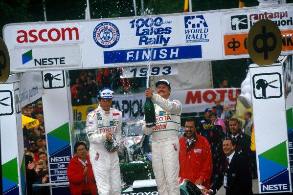 1000 Lakes Rally, Finland. 27th - 29th August 1993.Juha Kankkunen/Denis Giraudet (Toyota Celica Turbo 4WD), 1st position, podium, portrait. World Copyright: LAT Photographic.Ref: Colour Transparency.