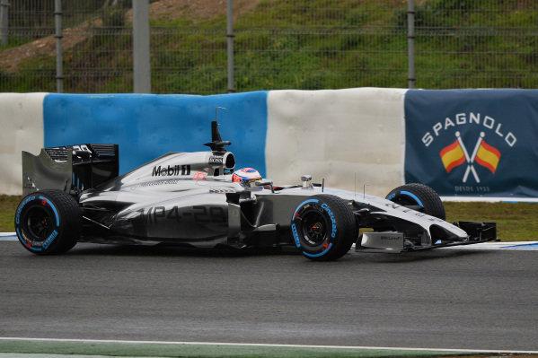 Jenson Button (GBR) McLaren MP4-29. Formula One Testing, Jerez, Spain, Day Two, Wednesday 29 January 2014.