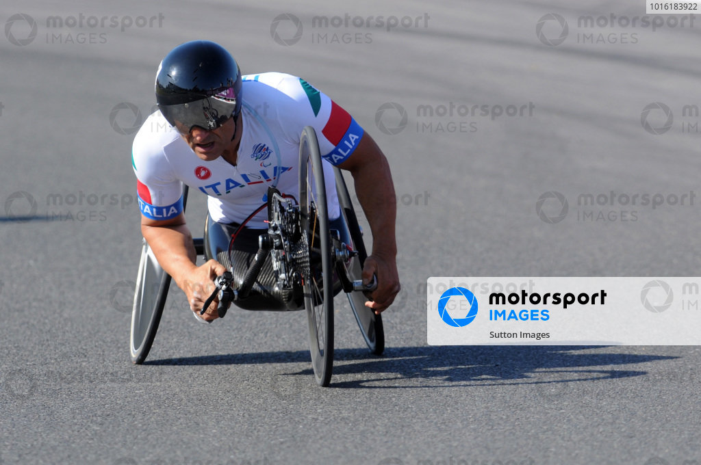 Alex Zanardi (ITA) was the Gold Medal Winner of the H4 16km handcycling time trial at the 2012 Paralympic Games. Paralympic Cycling, Brands Hatch, England, 5 September 2012.
