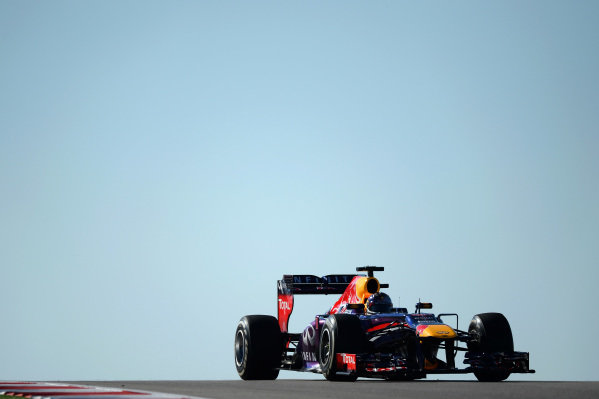 Sebastian Vettel (GER) Red Bull Racing RB9. Formula One World Championship, Rd18, United States Grand Prix, Practice, Austin, Texas, USA, Friday 15 November 2013. BEST IMAGE