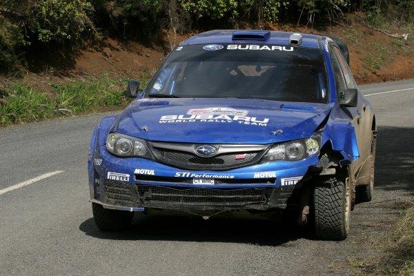 Chris Atkinson (AUS), Subaru Impreza WRC2008, with damage from stage 12.FIA World Rally Championship, Rd11, Repco Rally New Zealand, Day Three, Sunday 31 August 2008.
