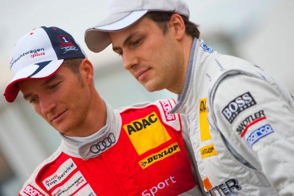 Dijon - Prenois, France. Sunday 11th October. Timo Scheider (Audi Sport Team Abt Audi A4 DTM) and Gary Paffett (Salzgitter AMG Mercedes C-Klasse). World Copyright: Alastair Staley/LAT Photographic.Ref: _O9T0753 jpg