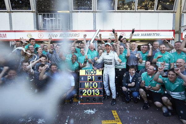 o 26th May 2013. Nico Rosberg, celebrates with the Mercedes team. World Copyright: Steve Etherington/c ref: Digital Image SNE23926 copy