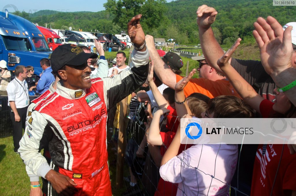 30 May, 2011, Lakeville, Connecticut USA Bill Lester greets fans next to victory lane after his podium finish. ©2011, R.D. Ethan LAT Photo USA