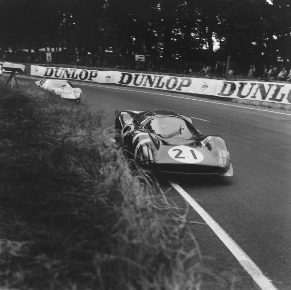 Le Mans, France. 18th - 19th June 1966. Lorenzo Bandini/Jean Guichet (Ferrari 330 P3), retired, action. World Copyright: LAT Photographic.Ref: B/W Print.