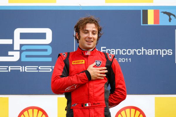 Spa - Francorchamps, Spa, Belgium. 28th August. Sunday Race. Luca Filippi (ITA, Scuderia Coloni) celebrates his victory on the podium. Photo: Glenn Dunbar/GP2 Media Service. Ref: _G7C7738 jpg