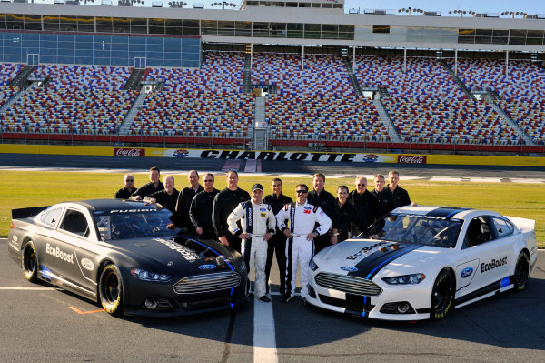 24 January, 2012, Concord, North Carolina, USAGreg Biffle, and Ricky Stenhouse Jr with Ford Officials after running a few laps at the unveiling of the 2013 Ford Fusion which will compete in the NASCAR Sprint Cup Series in 2013.(c)2012, LAT SouthLAT Photo USA