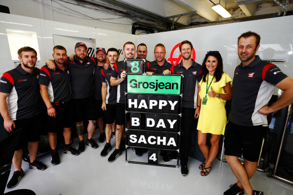Hungaroring, Budapest, Hungary.  Saturday 29 July 2017. A birthday message for Sacha, son of Romain Grosjean, Haas F1. World Copyright: Andy Hone/LAT Images  ref: Digital Image _ONZ9934