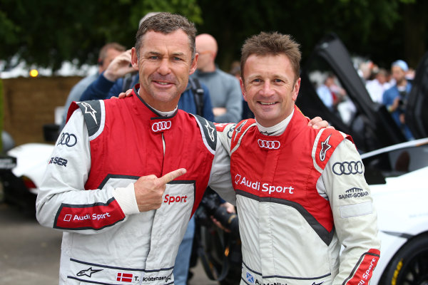 2017 Goodwood Festival of Speed. Goodwood Estate, West Sussex, England. 30th June - 2nd July 2017. Tom Kristensen and Allan McNish World Copyright : JEP/LAT Images