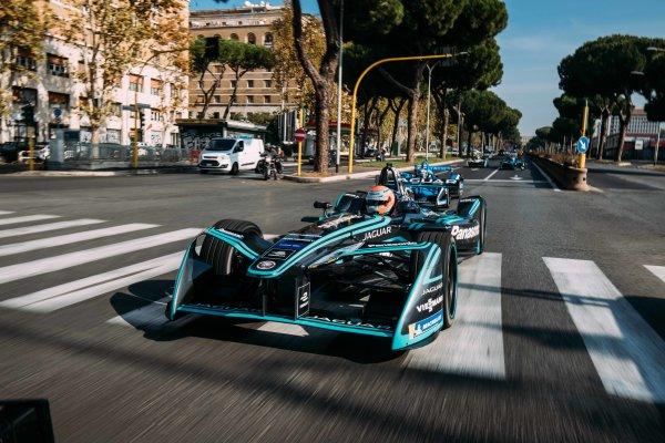 2017/2018 FIA Formula E Championship. Street Demonstration - Rome, Italy. Nelson Piquet Jr. (BRA), Panasonic Jaguar Racing, Jaguar I-Type II. Thursday 19 October 2017. Photo: Malcom Griffiths/LAT/Formula E ref: Digital Image MALC0211