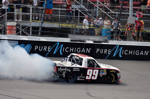 NASCAR Camping World Truck Series LTI Printing 200 Michigan International Speedway, Brooklyn, MI USA Saturday 12 August 2017 Darrell Wallace Jr, Maestro's Classic Chevrolet Silverado burnout World Copyright: Nigel Kinrade LAT Images