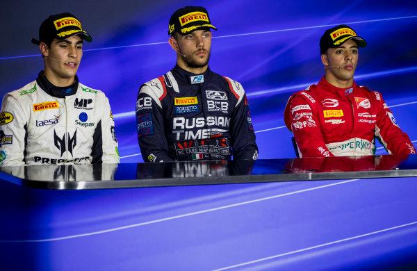 2017 FIA Formula 2 Round 9. Autodromo Nazionale di Monza, Monza, Italy. Sunday 3 September 2017. Sergio Sette Camara (BRA, MP Motorsport), Luca Ghiotto (ITA, RUSSIAN TIME), Antonio Fuoco (ITA, PREMA Racing).  Photo: Zak Mauger/FIA Formula 2. ref: Digital Image _56I9271