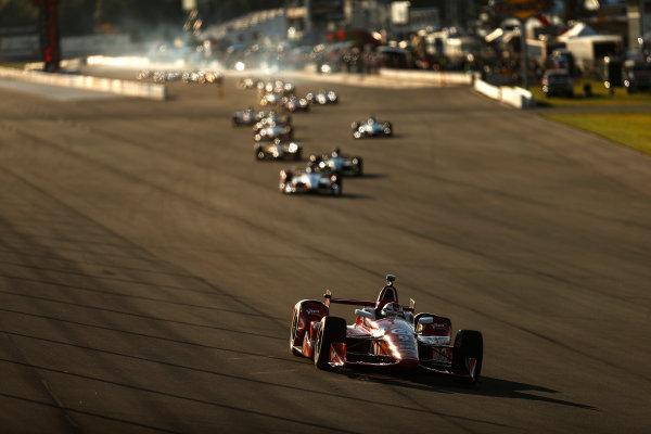 22-23 August, 2015, Pocono, Pennsylvania, USA Scott Dixon leads the field out of the pit lane ? 2015, Michael L. Levitt LAT Photo USA