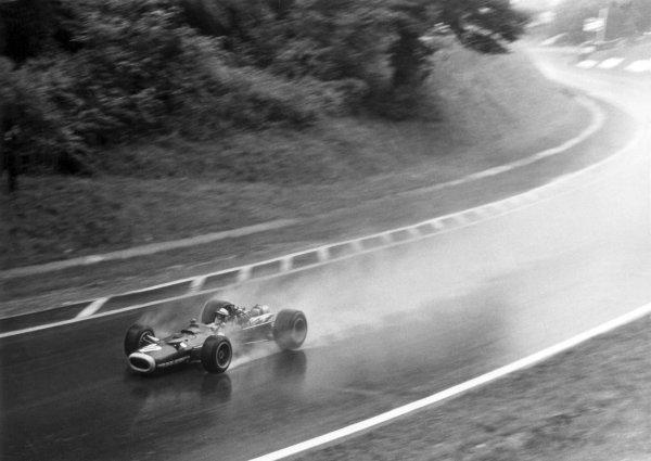 1968 French Grand Prix.Rouen-les-Essarts, France. 7 July 1968.Pedro Rodriguez, BRM P133, 12th position, action.World Copyright: LAT PhotographicRef: Autosport b&w print
