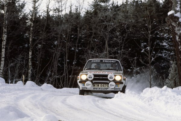 1978 World Rally Championship.Swedish Rally, Sweden. 10-12 February 1978.Bjorn Waldegaard/Hans Thorszelius (Ford Escort RS), 1st position.World Copyright: LAT PhotographicRef: 35mm transparency 78RALLY02