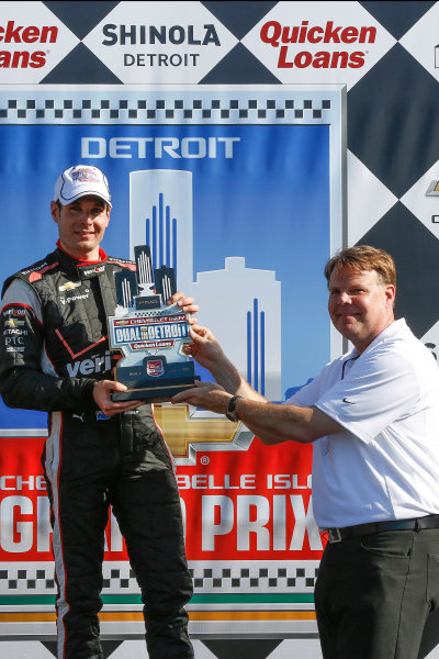 30 May - 1 June, 2014, Detroit, Michigan, USA Winner Will Power reveives his trophy from Jim Campbell of Chevrolet ©2014, Michael L. Levitt LAT Photo USA