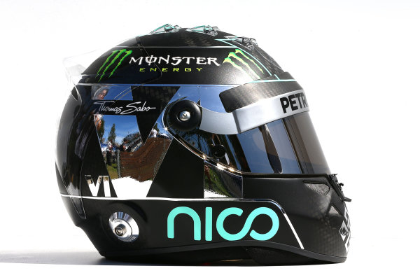 Albert Park, Melbourne, Australia. Thursday 13 March 2014. The helmet of Nico Rosberg (GER) Mercedes AMG F1. World Copyright: xpb Images/LAT Photographic. ref: Digital Image 2014helmets01