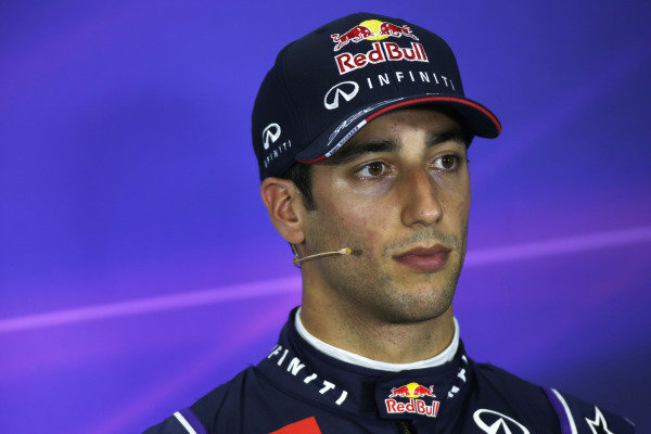 Circuit de Catalunya, Barcelona, Spain. Saturday 10 May 2014. Daniel Ricciardo, Red Bull Racing, in the post qualifying Press Conference. World Copyright: Glenn Dunbar/LAT Photographic. ref: Digital Image _W2Q7214