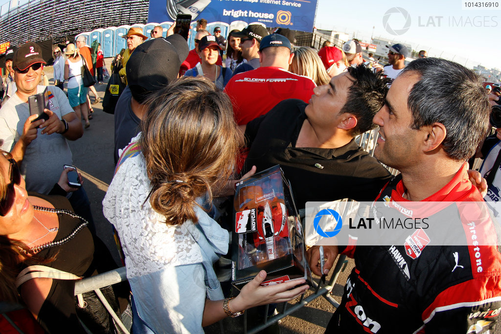 27-29 March, 2015, St. Petersburg, Florida, USA Winner Juan Pablo Montoya celebrates in Victory Lane with fans ©2015, Michael L. Levitt LAT Photo USA