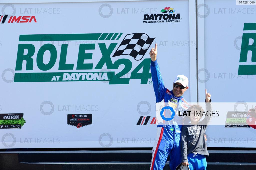 22-25 January, 2015, Daytona Beach, Florida USA 02, Ford EcoBoost, Riley DP,  Tony Kanaan, and son on podium. ©2015, Richard Dole LAT Photo USA