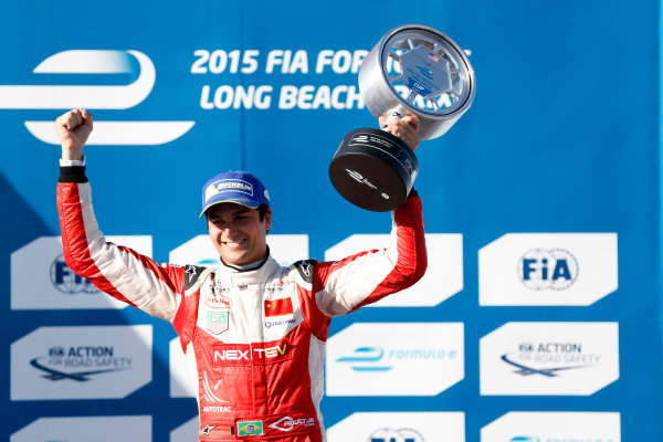 2014/2015 FIA Formula E Championship. Nelson Piquet Jr (BRA)/China Racing - Spark-Renault SRT_01E  Long Beach ePrix, Long Beach, California, United States of America. Sunday 5 April 2015  Photo: Al Staley/LAT/Formula E ref: Digital Image _R6T8643