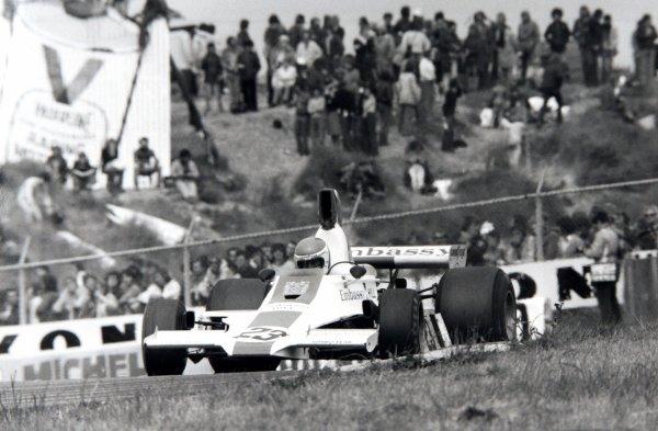 1975 Dutch Grand Prix.Zandvoort, Holland.20-22 June 1975.Tony Brise (Hill GH1-Cosworth) 7th position, action.World Copyright - LAT Photographic