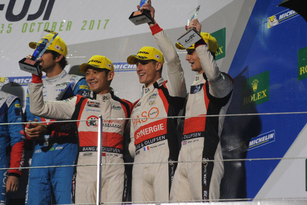 2017 FIA World Endurance Championship, Fuji, Japan. 13th-15th October 2017, #38 Jackie Chan DC Racing ORECA 07-Gibson: Ho-Pin Tung, Thomas Laurent, Oliver Jarvis  World copyright. JEP/LAT Images