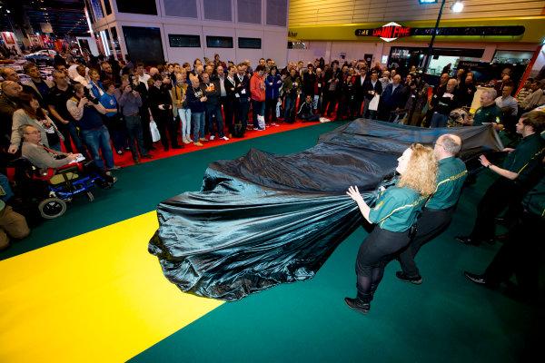 Autosport International Exhibition.  National Exhibition Centre, Birmingham, UK. Thursday 14 January 2016.  Classic Team Lotus prepare for an unveiling of the Lotus Type 56 B. World Copyright: Sam Bloxham/LAT Photographic. ref: Digital Image _SBL6136