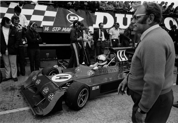 Silverstone, England. 14th July 1973. Tom Wheatcroft and Roger Williamson (March 731-Ford). Portrait. World Copyright: LAT Photographic ref: L73/1196/14A