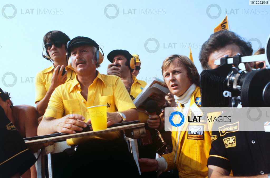 Hockenheim, Germany. 28th - 30th July 1978Colin Chapman and Ronnie Peterson watch the action from the pit lane, portrait.World Copyright: LAT PhotographicRef: 35mm Colour Transparency