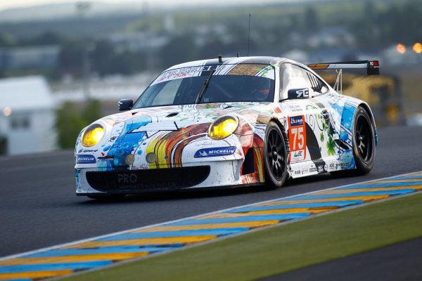 2014 Le Mans 24 Hours. Circuit de la Sarthe, Le Mans, France. Wednesday 11 June 2014.  Francois Perrodo/Emmanuel Collard/Matthieu Vaxiviere, Prospeed Competition, No.75 Porsche 911 GT3 RSR.  World Copyright: Adam Warner/LAT Photographic. ref: Digital Image _MG_5401
