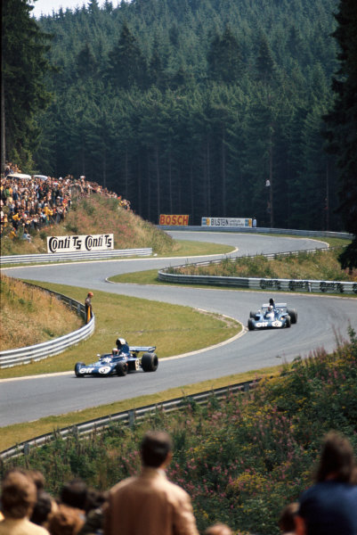 1973 German Grand Prix.  Nurburgring, Germany. 3-5th August 1973.  Jackie Stewart, Tyrrell 006 Ford, 1st position, leads Fran?ois Cevert, Tyrrell 006 Ford, 2nd position.  Ref: 73GER15. World Copyright: LAT Photographic