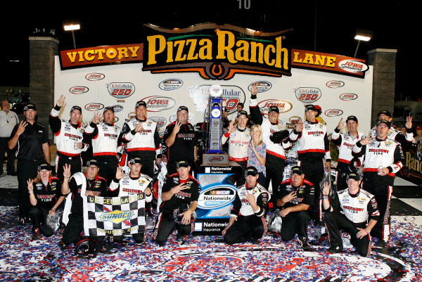 1-2 August, 2014, Newton, Iowa USA Brad Keselowski celebrates in victory lane ?2014, Russell LaBounty LAT Photo USA