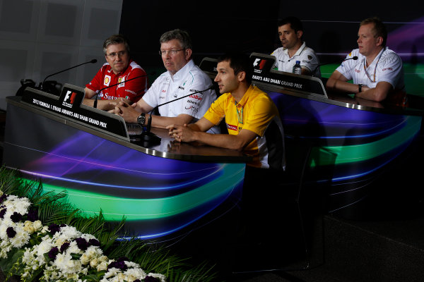 Yas Marina Circuit, Abu Dhabi, United Arab Emirates Friday 2nd November 2012. Pat Fry, Director of Chassis, Scuderia Ferrari, Ross Brawn, Team Principal, Mercedes AMG F1, Remi Taffin, Head of Track Operations, Renault Sport F1, Tony Cuquerella, Team Principal, HRT, and Andrew Green, Technical Director, Force India, in the Press Conference.  World Copyright:Charles Coates/  ref: Digital Image _N7T1381