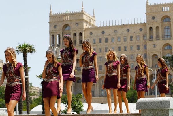 Baku City Circuit, Baku, Azerbaijan. Saturday 18 June 2016. Grid Girls. World Copyright: Steven Tee/LAT Photographic ref: Digital Image _H7I8585