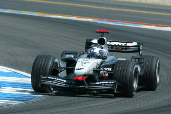 2003 German Grand Prix - Sunday Race, Hockenheim, Germany.3rd August 2003.David Coulthard, West McLaren Mercedes MP4/17D, action.World Copyright LAT Photographic.Digital Image Only.