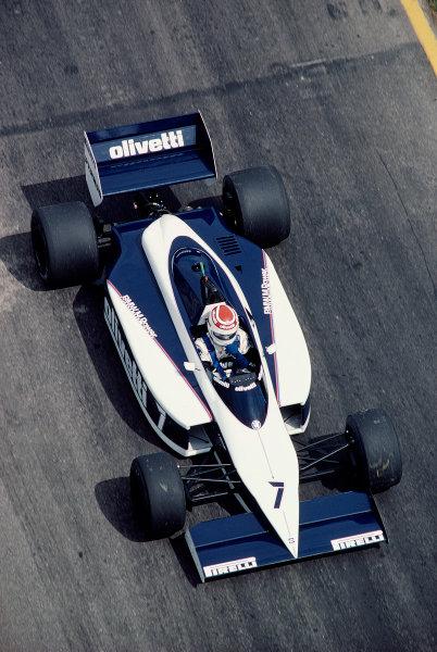 1985 Brazilian Grand Prix.Jacarepagua, Rio de Janeiro, Brazil. 5-7 April 1985.Nelson Piquet (Brabham BT54 BMW).Ref-85 BRA 39.World Copyright - LAT Photographic