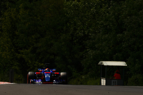 Hungaroring, Budapest, Hungary.  Wednesday 02 August 2017. Carlos Sainz Jr, Toro Rosso STR12 Renault. World Copyright: Joe Portlock/LAT Images  ref: Digital Image _R3I6489
