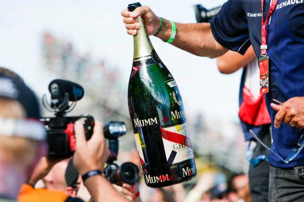 2016/2017 FIA Formula E Championship. Round 8 - Berlin ePrix, Tempelhof Airport, Berlin, Germany. Sunday 11 June 2017. Mumm champagne bottle at the podium. Photo: Andrew Ferraro/LAT/Formula E ref: Digital Image _FER3193