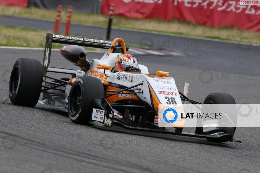 2017 Japanese Formula 3 Championship. Suzuka, Japan. 24th - 25th June 2017. Rd 10 & 11. Rd10 2nd position Ritomo Miyata ( Corolla Chukyo Kuo TOM?S F314 ) action World Copyright: Masahide Kamio / LAT Images. Ref: 2017JF3_Rd10_05