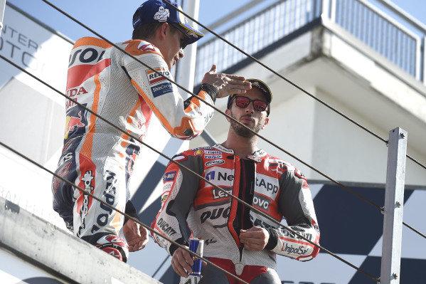 Marc Marquez, Repsol Honda Team, Andrea Dovizioso, Ducati Team.