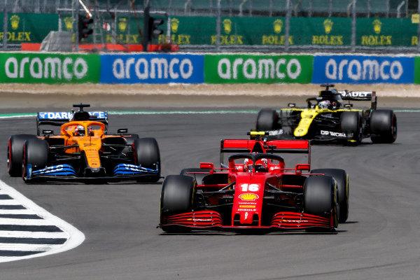 Charles Leclerc, Ferrari SF1000, leads Carlos Sainz, McLaren MCL35, and Daniel Ricciardo, Renault R.S.20