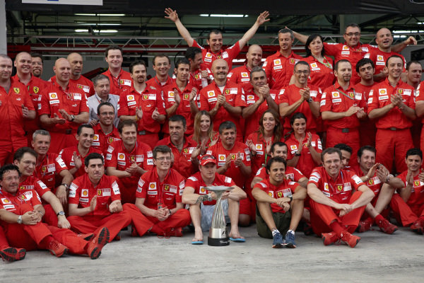 Ferrari team photo as they celebrate Kimi Räikkönen's victory.