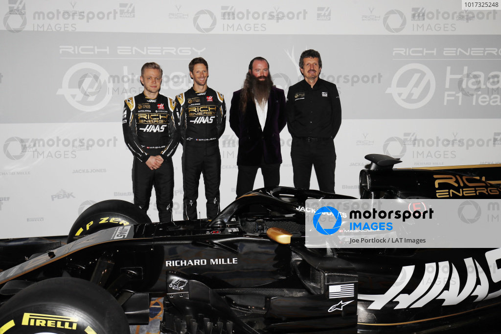 Kevin Magnussen, Haas F1 Team, Romain Grosjean, Haas F1 Team, William Storey CEO Rich Energy and Guenther Steiner, Team Principal, Haas F1 with the new Haas livery