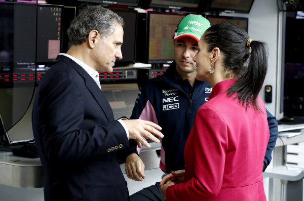 Alejandro Soberón Kuri, CEO of CIE, Sergio Perez, Racing Point and Claudia Sheinbaum the Mayor of Mexico City