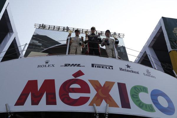 Race winner Moises De La Vara (MEX) Martiga EG RT celebrates on the podium at Formula 4 Series, Circuit Hermanos Rodriguez, Mexico City, Mexico, 27-29 October 2017.