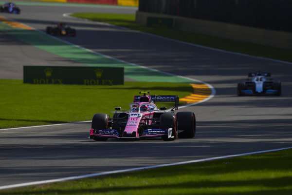 Lance Stroll, Racing Point RP19, leads George Russell, Williams Racing FW42