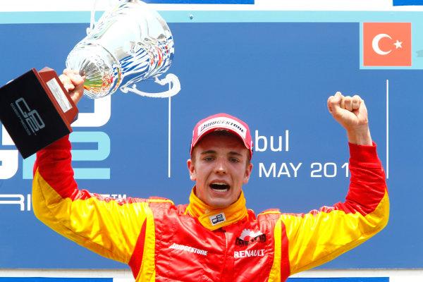 Round 3 Istanbul Park, Istanbul Turkey 30th May. Sunday Race.Dani Clos (ESP, Racing Engineering) celebrates his victory on the podium.Photo: Glenn Dunbar/GP2 Media Service.Ref: _G7C4928 jpg
