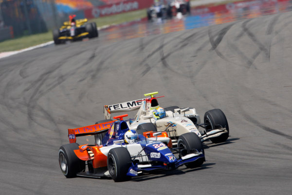 Round 3 Istanbul Park, Istanbul Turkey 30th May. Sunday Race.Johnny Cecotto (VEN, Trident Racing) leads Sergio Perez (MEX, Barwa Addax Team). Action. Photo: Alastair Staley/GP2 Media Service.Ref: _O9T6285 jpg